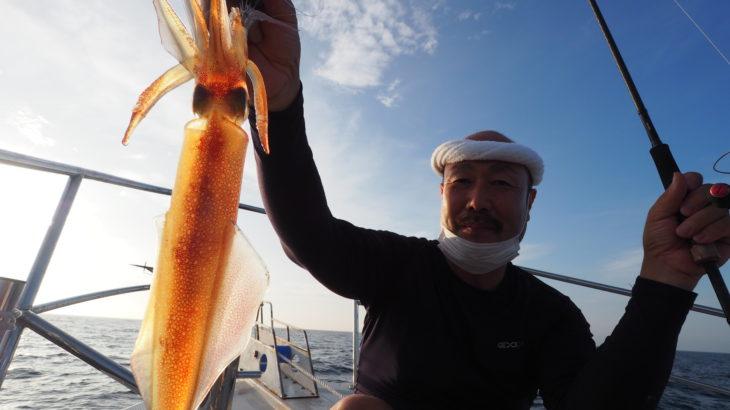 8月1日(土)  昨日よりも潮が速くテクニカル💦 明るいうちは、珍しく良く釣れたのでナメック星人に変身してからが爆釣かと期待しましたが、潮がどんどん速くなり超テクニカルに💦クライマックスないまま終了😅 30〜50杯 船中290杯 スルメ少々