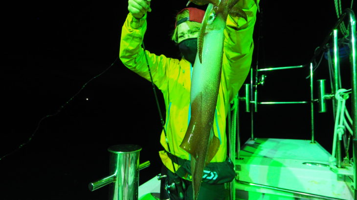 7月9日(金)   「23時出船便」久々の朝ラッシュ! 豪雨で流出した浮遊物がある中、安全確保による低速航行でポイント到着はいつもより時間がかかりましたが、集魚灯点灯し直ぐに釣れだし朝方にはラッシュもアリで何とか楽しめました!  白イカ20〜62杯 船中326杯 スルメ多数